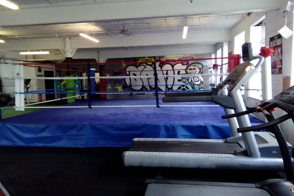 Boxing ring in gym