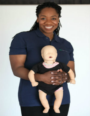 Women with baby mannequin