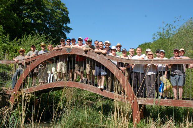 Team on a bridge