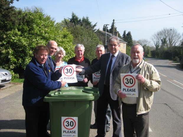 the team promoting the wheelie bin sticker campaign