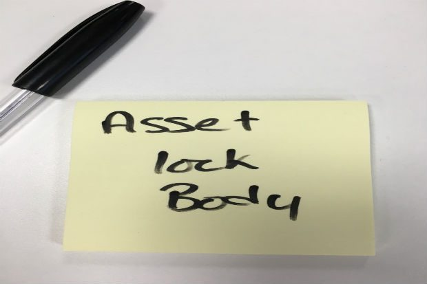 Asset lock body post it image