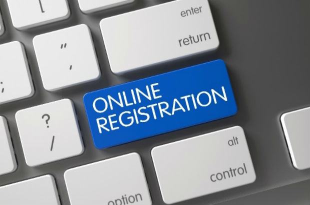 A button to start the online registration