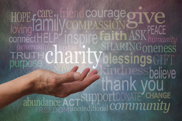 A banner that shows words to describe care, community, hope and charity