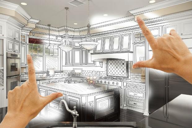 hands framing model kitchen