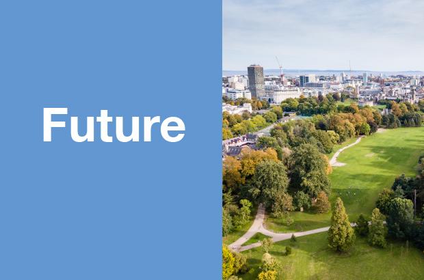 The word future alongside an aerial veiw of landscape